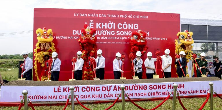 Ground breaking ceremony for a frontage road of HCMC-Long Thanh-Dau Giay Expressway
